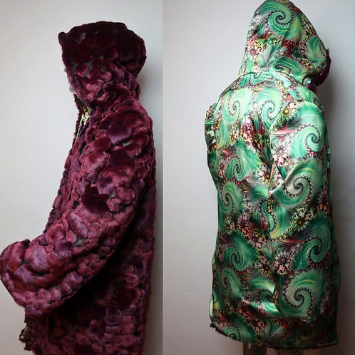 Light Up Coat - Burgundy Bubble fur with a psychedelic satin interior OOAK