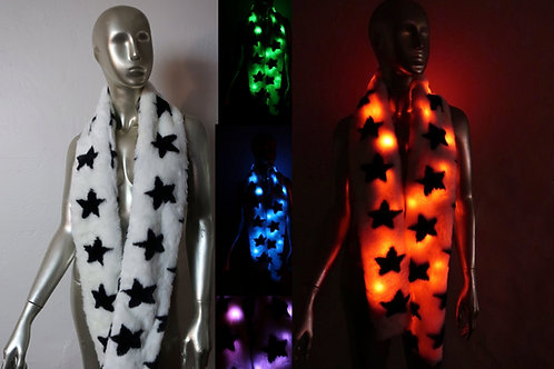 Star Faux Fur Light Up Boa - Light Up LED Scarf