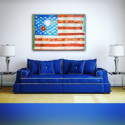 #girlflag is oil on pieced canvas and 6