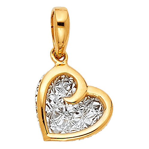 14k Two-tone Gold Fancy Heart Pendant with 1-mm Yellow Gold Snail Chain