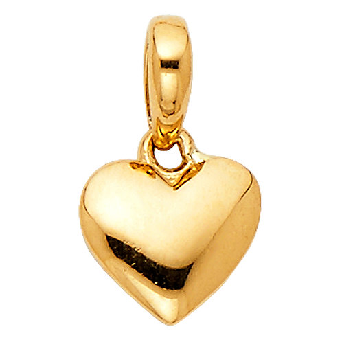 14k Yellow Gold Tiny Puffed Heart Pendant with 1-mm Yellow Gold Snail Chain