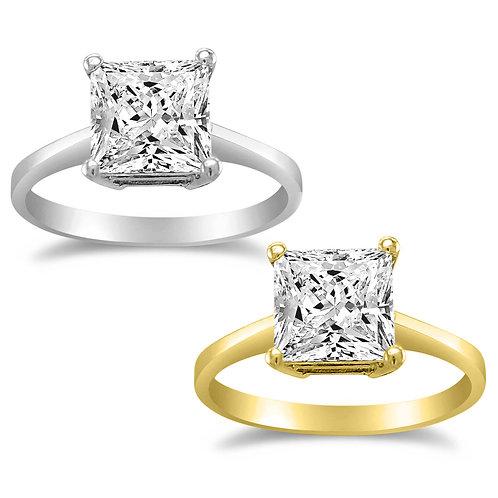 14k Yellow or White Gold 1ct TGW Princess-cut Diamonette Solitaire Engagement Ri