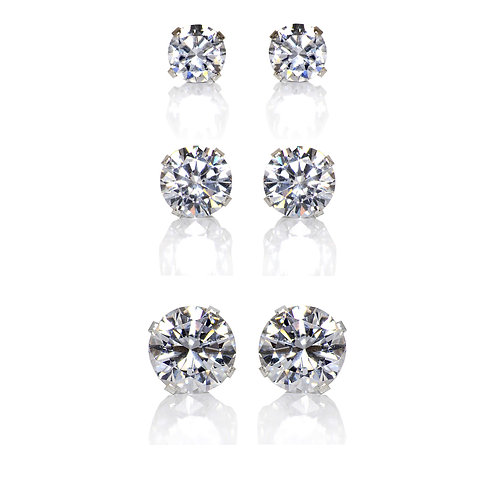 Set of 3 Pair Sterling Silver 4, 6, 8-mm Clear Cubic Zirconia Earring Studs