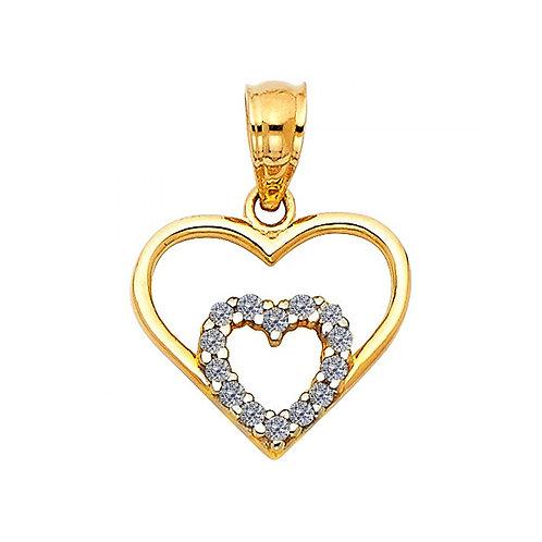 14k Tri-tone Gold CZ 2 Hearts Make One Pendant and 0.8-mm Gold Wheat Chain