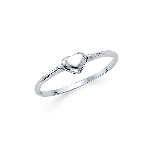 14k White Gold Dainty Heart Ring