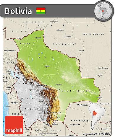 Phyische Karte von Bolivien. Etwa zwei drittel Boliviens, der nordöstliche Teil, sind grün gekennzeichnet. Ein braungelbe Streifen trennt den grünen Teil vom weißen, welcher das letzte drittel ausmacht.