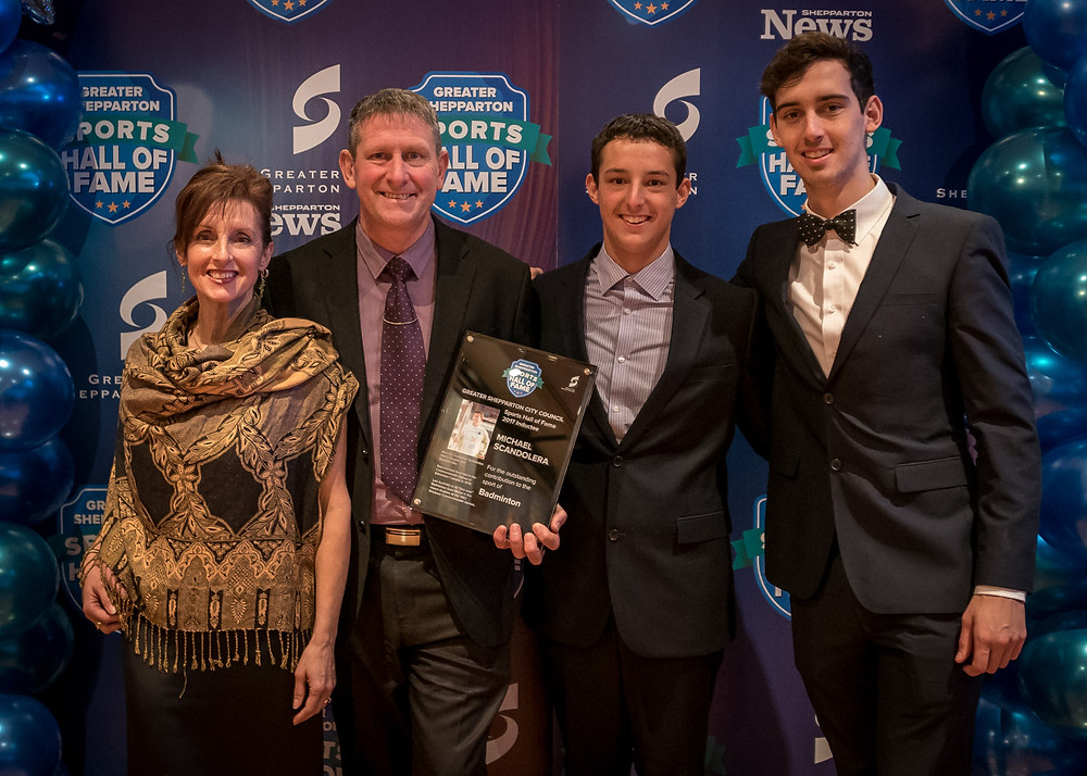 Mike Scandolera with his wife Jan and sons Tyler and Riley