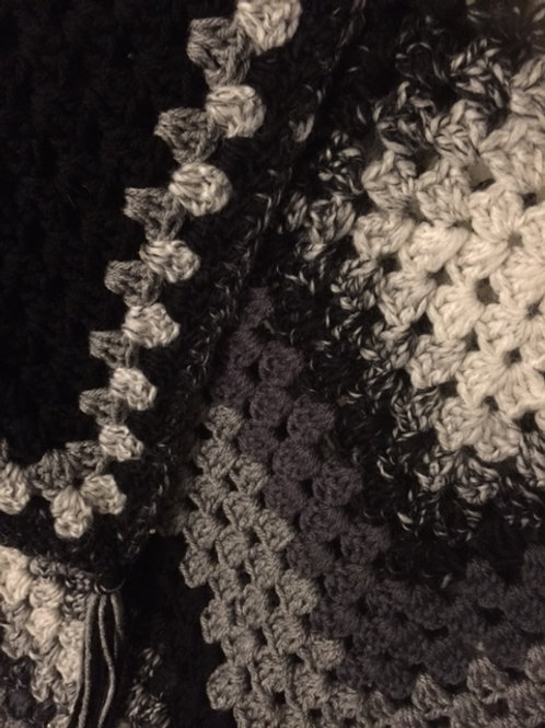 WyckedGood Afghan Cream to Black Gradient Granny Square
