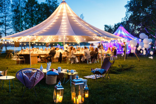 Colorful wedding tents at night. Wedding