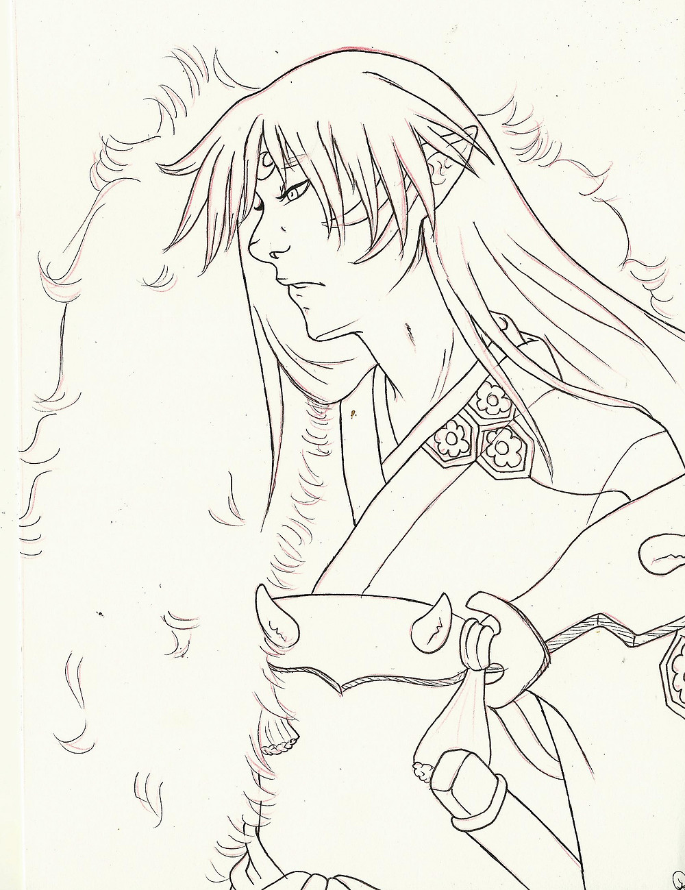 Privately commissioned piece of Sesshoumaru from Inuyasha. He is colored but I do not have a scan just yet.