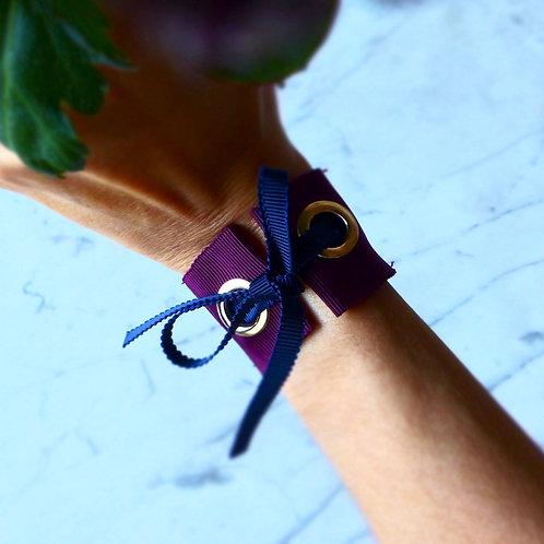 bracelet bordeaux en ruban