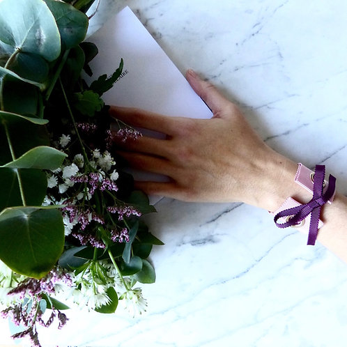bracelet rose ruban