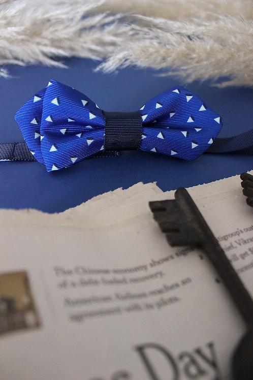 Noeud papillon pointu bleu ROI et motif