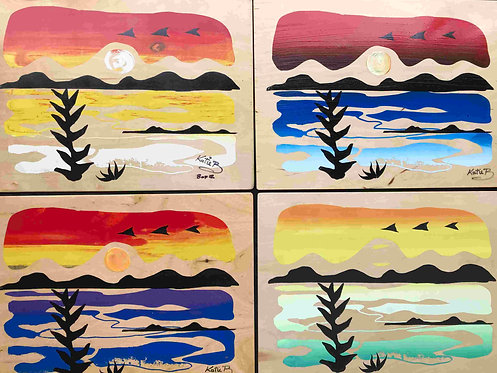 70 Sunrise Comox Valley Collection of 4 screen prints by Kate Brown