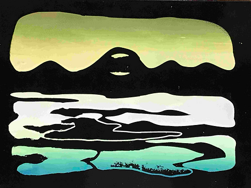 74 Moon Rise Comox Valley screen print by Kate Brown