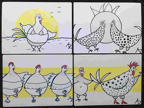 40 Chickens Collection of 4 by Ann Zanbilowicz