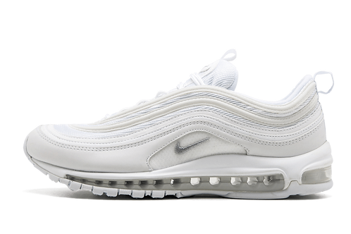 "Nike Air Max 97 ""TRIPLE WHITE"" WHITE/WOLF GREY-BLACK 921826 101"