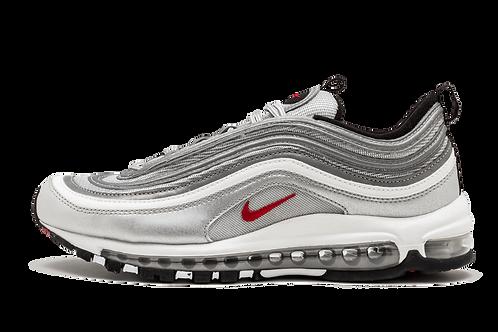 "Nike Air Max 97 OG QS 2017 ""SILVER BULLET"" METALLIC SILVER/VARSITY RED 884421 00"