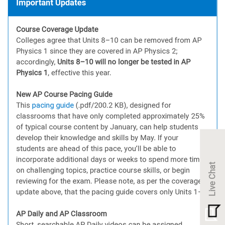 Important updates for AP Physics 1 Exam in 2021!