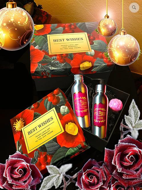 Gift set A: Rose Aromatic Cleansing Milk + Organic Rose Water + Rose Ball