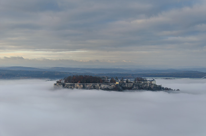 fortress Königstein in the fog sea
