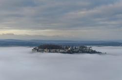 fortress Königstein in the fog sea