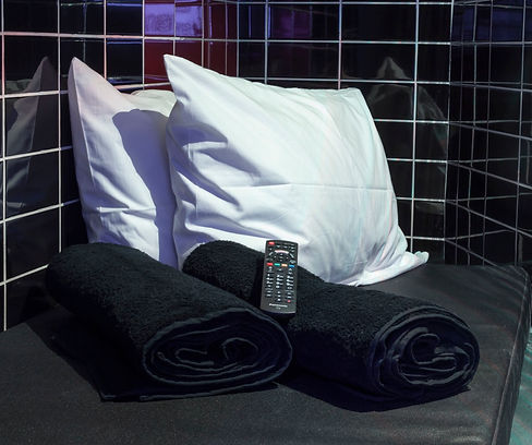 Pleasuredrome Sauna deluxe pods can be securey locked and have power sockets to charge mobiles