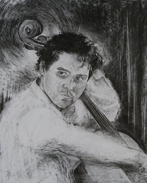 Charcoal of Adam Javorkai made by Tessa Peskett