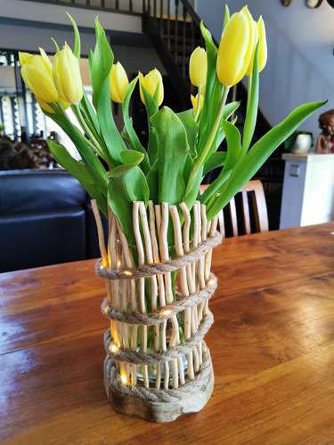 Lichtgevende vaas van drijfhout (Op bestelling)