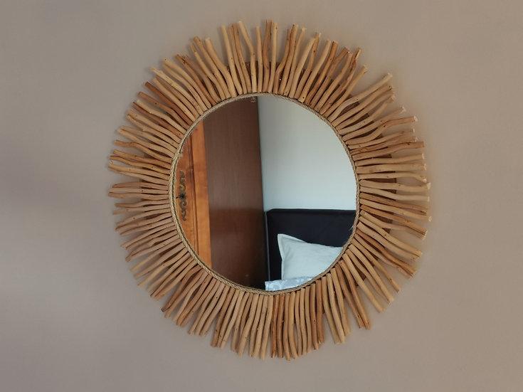 Ronde spiegel van drijfhout (Op bestelling)