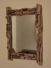 Rechthoekige spiegel van drijfhout