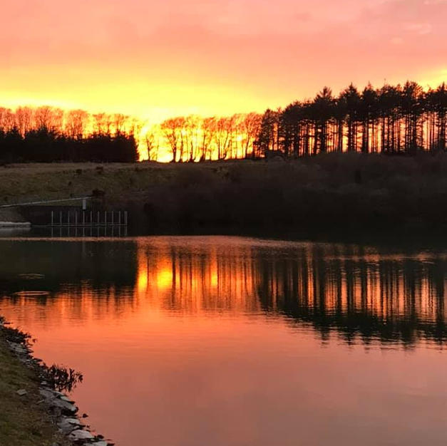 Sunset at Wistlandpound Resevoir