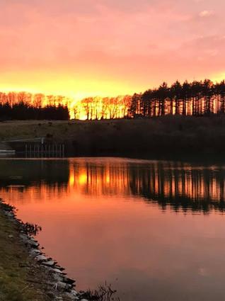 Sunset at Wistlandpound Resevoir