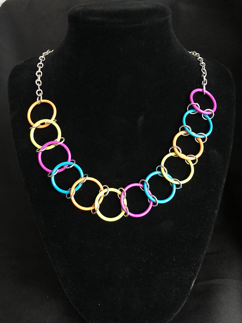 Multi Colored Rings Necklace