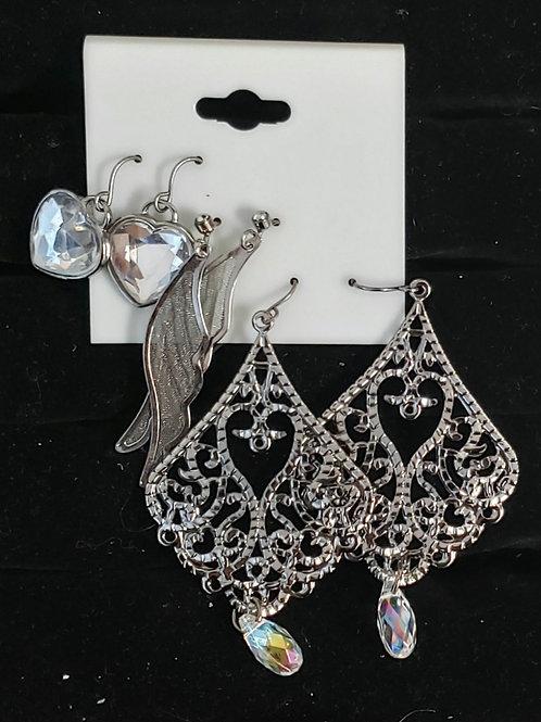 3 pcs set earrings: hearts, wings, chandelier