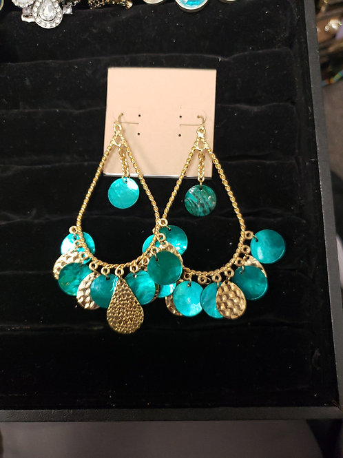 Teal gold dangle earrings