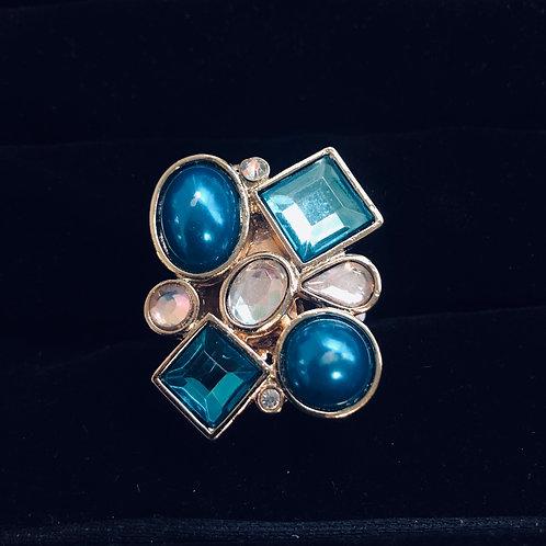 Turquoise Rhinestone Gold ring
