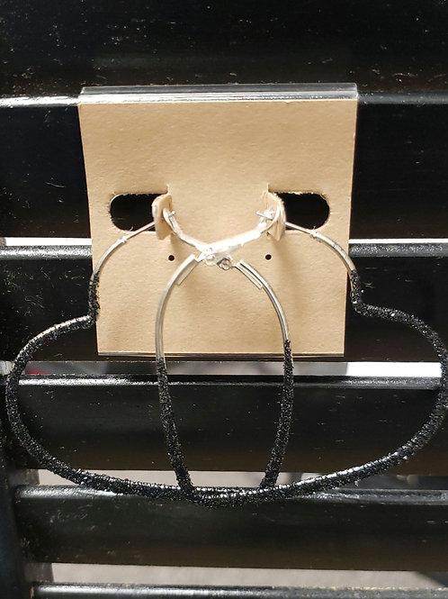 Heart black glitter heart earrings
