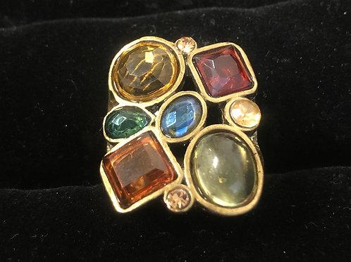 Antique Gold Multi Color Rhinestone ring