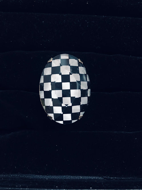 Lg Silver Checkered Flag ring