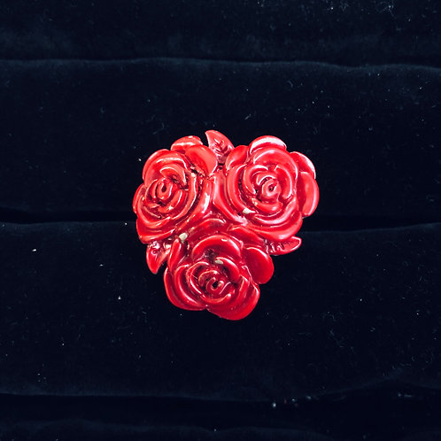 Silver Three Red Roses Ring