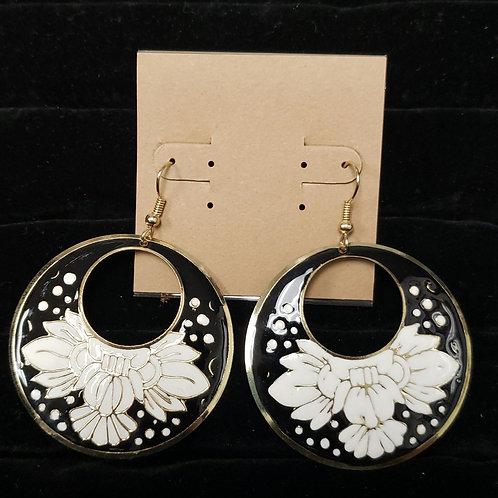 Black, white, gold earrings