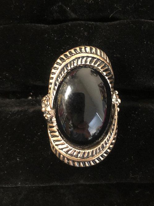 Brushed nickel Black Stone ring