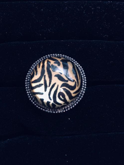Round Nickle Finish Zebra ring
