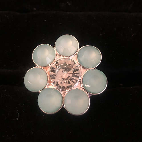 Flower Ring with Light Blue stones