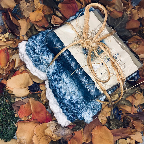 Two Homemade Crochet Wash Cloths w/Bar Homemade Soap
