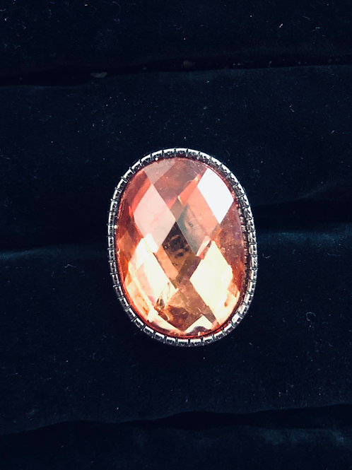 Light Orange Rhinestone Ring Nickle finish (adjustable)