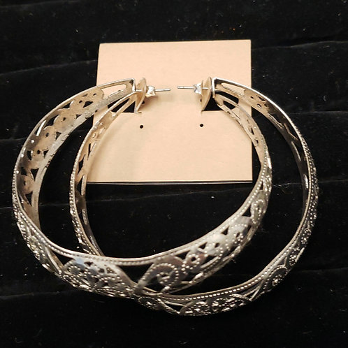 Filigree silver hoop earrings