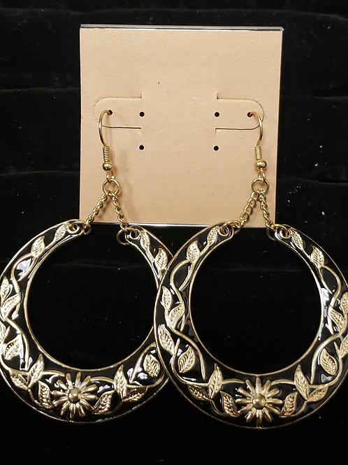 Gold and black flower vine earrings