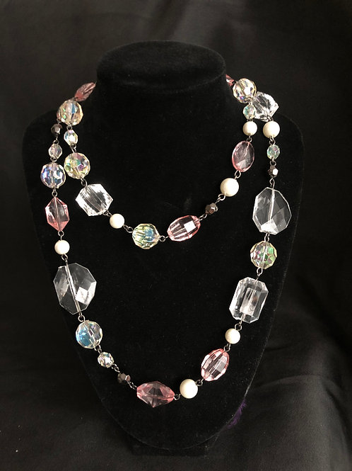Pale Pink and Clear Rhinestones Beads w/Pearls Necklace